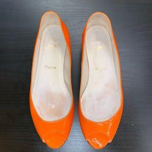 Christian Louboutin Orange Peep Toe Patent Flats